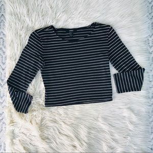 Cropped Black and White Striped Top